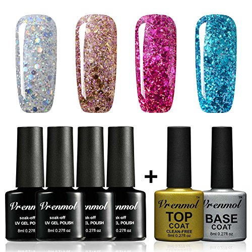 Vrenmol Gel Nail Polish with Top and Base Coat Set Soak Off Bling Gel Nail Lacquer Glitter Nai Art Varnish Kit 8ml