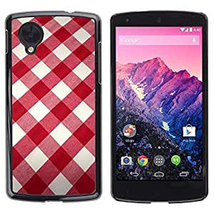 Be Good Phone Accessory // Dura Cáscara cubierta Protectora Caso Carcasa Funda de Protección para LG Google Nexus 5 D820 D821 // White Red Pattern Fabric