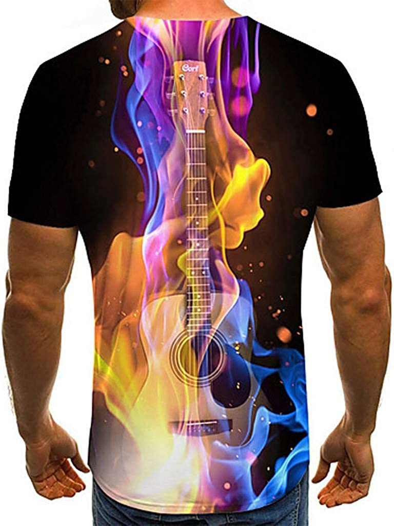 OGGID Mens 3D Print Shirts Fire Guitar Printed Tops Round Neck Short Sleeve T Shirt Casual Slim Fit Top Funny Print Pullover Blouse