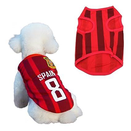 SymbolLife Trajes Perro Disfraz Gato Ropa para Perros Camiseta Fútbol Copa del Mundo FIFA Copa de