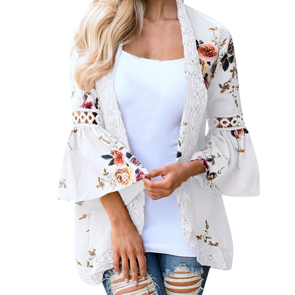 Women 3/4 Sleeve Open Front Cover Ups Hollow Lace Floral Open Cape Casual Coat Blouse Kimono Jacket Cardigan by LUCA