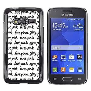 Caucho caso de Shell duro de la cubierta de accesorios de protección BY RAYDREAMMM - Samsung Galaxy Ace 4 G313 SM-G313F - Stay Text Repetitive Black White