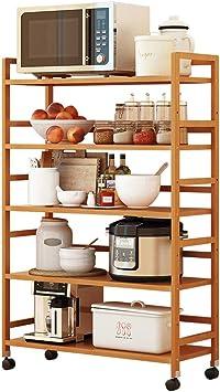 Organizadores para armarios Estante De La Cocina Vertical En El Suelo Estratificado Hogar Extraíble con Rodillo De Múltiples Funciones De Almacenamiento Accesorios De Madera Tamaño del Rack Stand-up: Amazon.es: Hogar