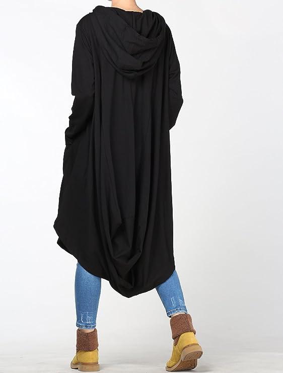 c852353d6ee3b Vogstyle Femme Sweatshirt Capuche Long Sweat Long Pull Shirt Robe  Déconrtacté avec Poches Noir XL  Amazon.fr  Vêtements et accessoires
