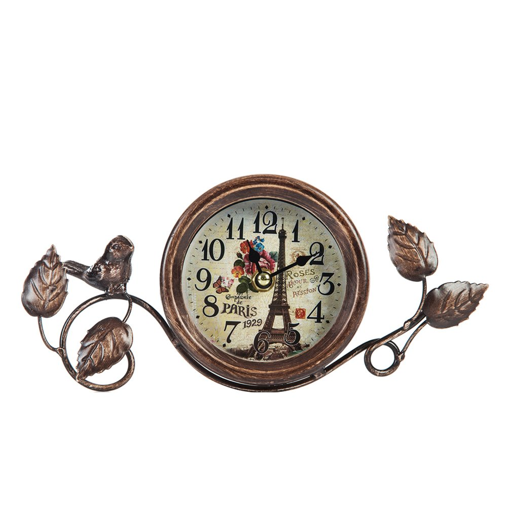 Dannto Vintage Shabby Metal Craft Table Clock with Bird Battery Operated Silent Clock(One Size, Gold-bird)