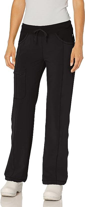 Cherokee Women's Infinty Low Rise Straight Leg Drawstring Scrub Pant, Black, Large