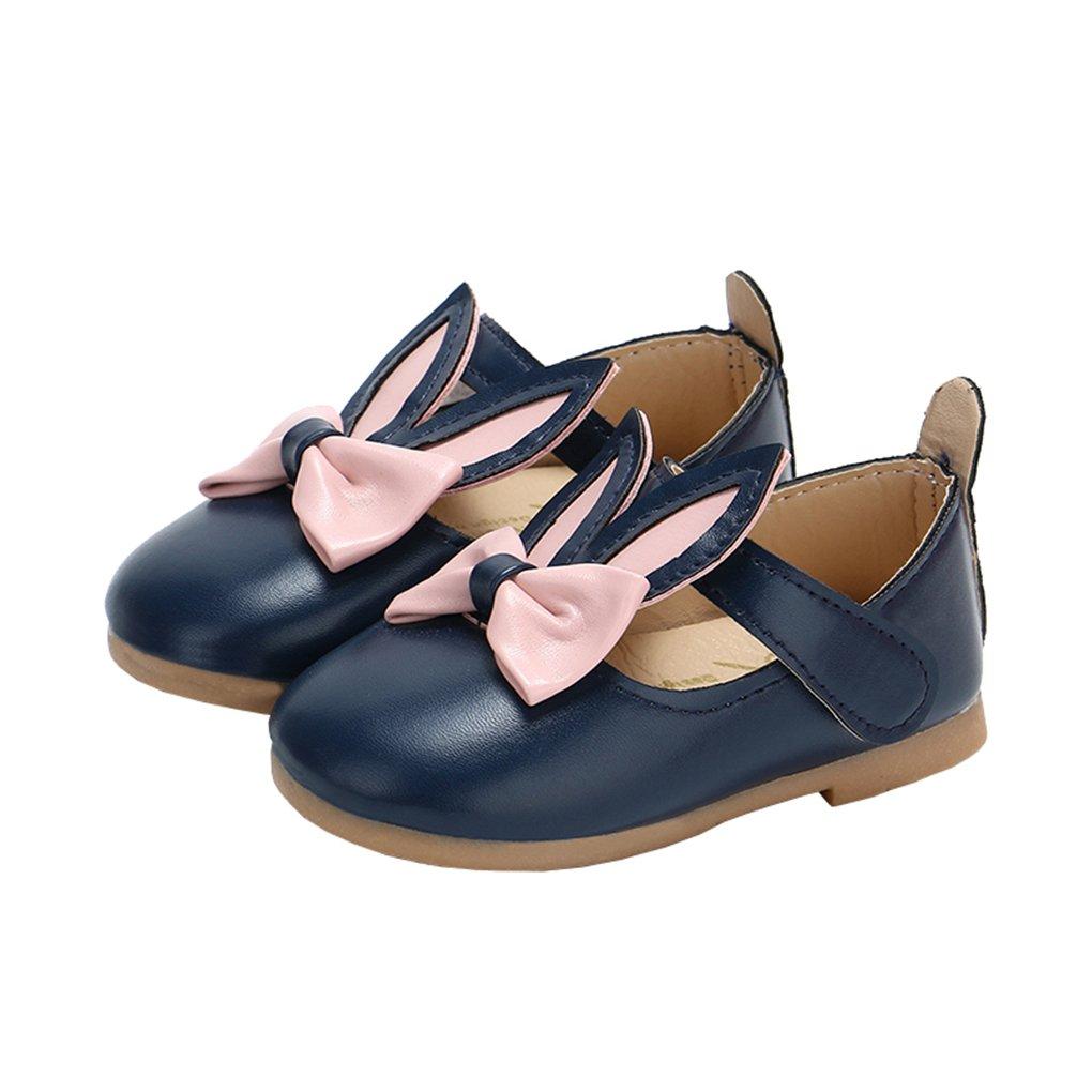 Toddler Girls Rabbit Ears Bowknot Mary Jane Flats Princess Costumes Dress Shoes Deep Blue Size 24