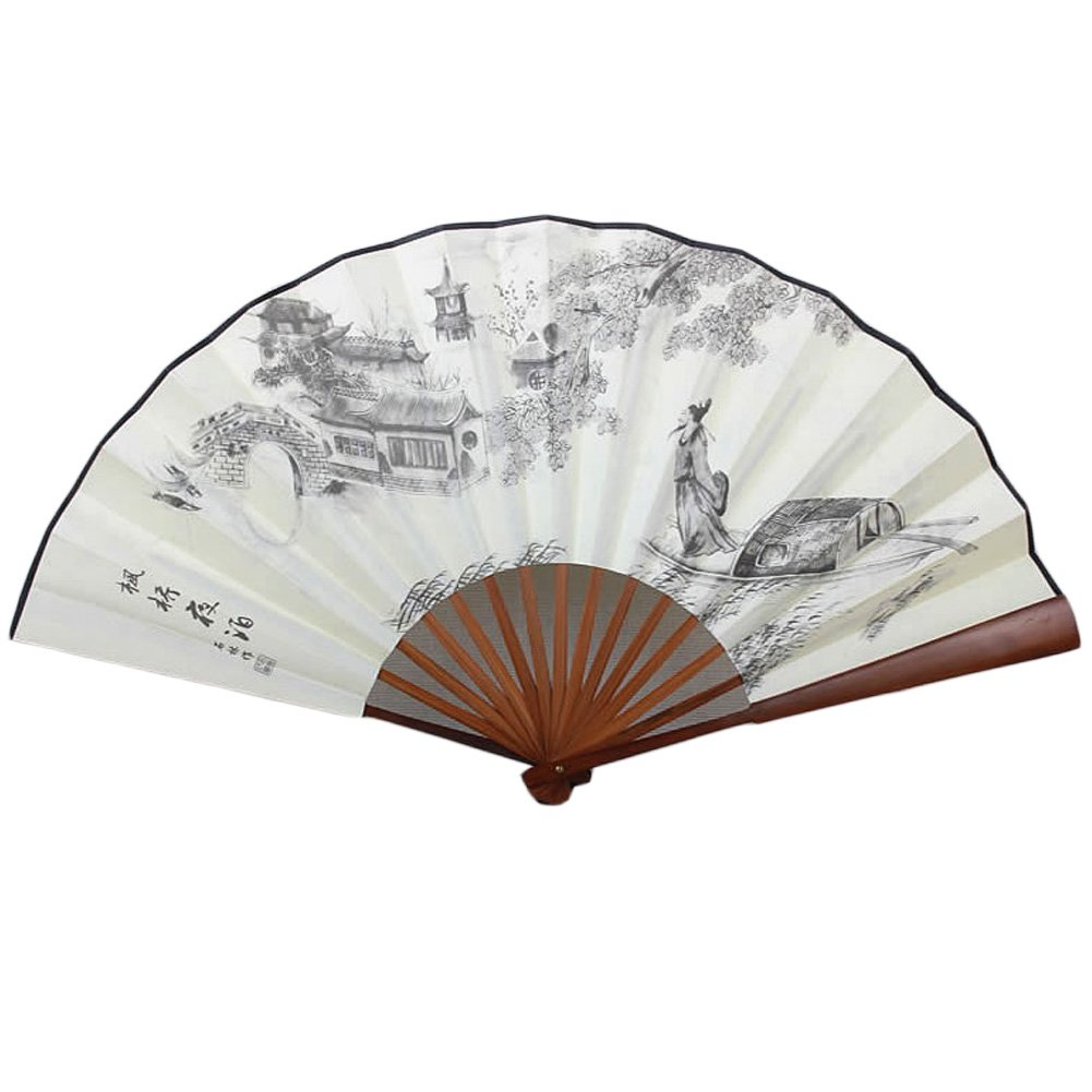 Chinese Traditional Kranker Fan mit einem Mann versendet Muster