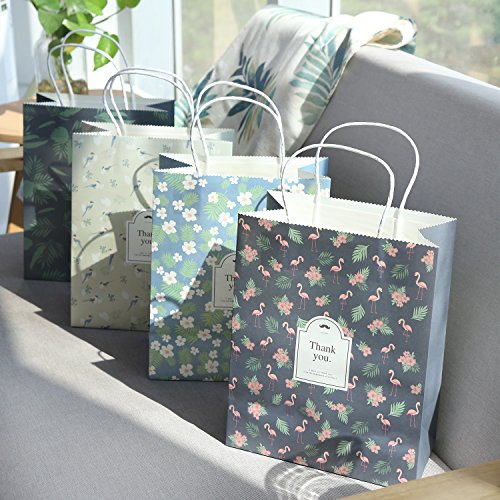 OceLander Gift Bags, Kraft Paper Gift Bags with Handles for Shopping, Birthday, Weddings and Holiday Presents Medium Size 10.5x8.25x4.3 inches. (Set of 16 Kraft Bags, 4 Designs) by OceLander (Image #2)