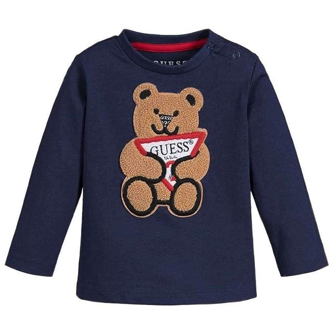 low priced 589f0 2dd46 GUESS? T-Shirt Manica Lunga Neonato, 24, Blu: Amazon.it ...