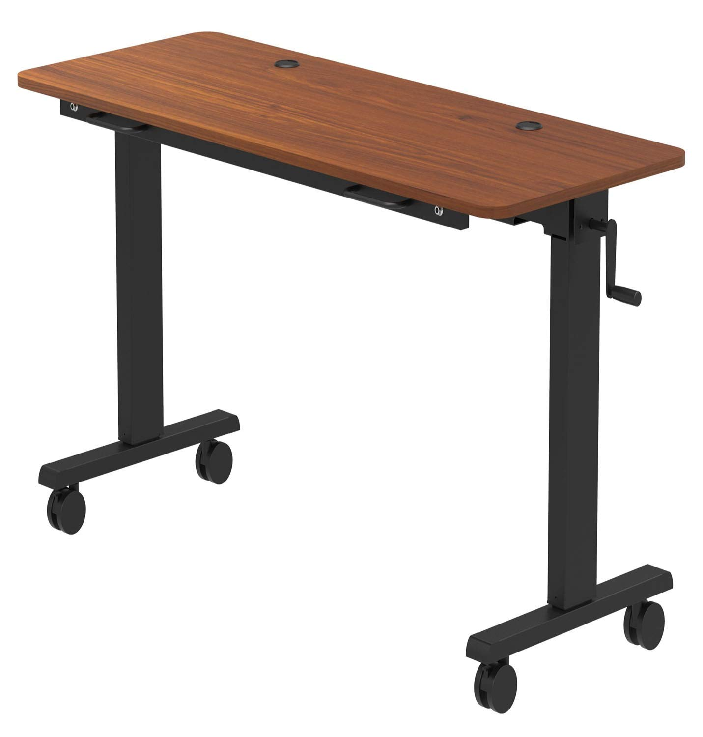 Stand Up Desk Store Adjustable Height Training Table – Flip Top Table Conveniently Nests and Rolls Away for Easy Storage (Teak, 72'')