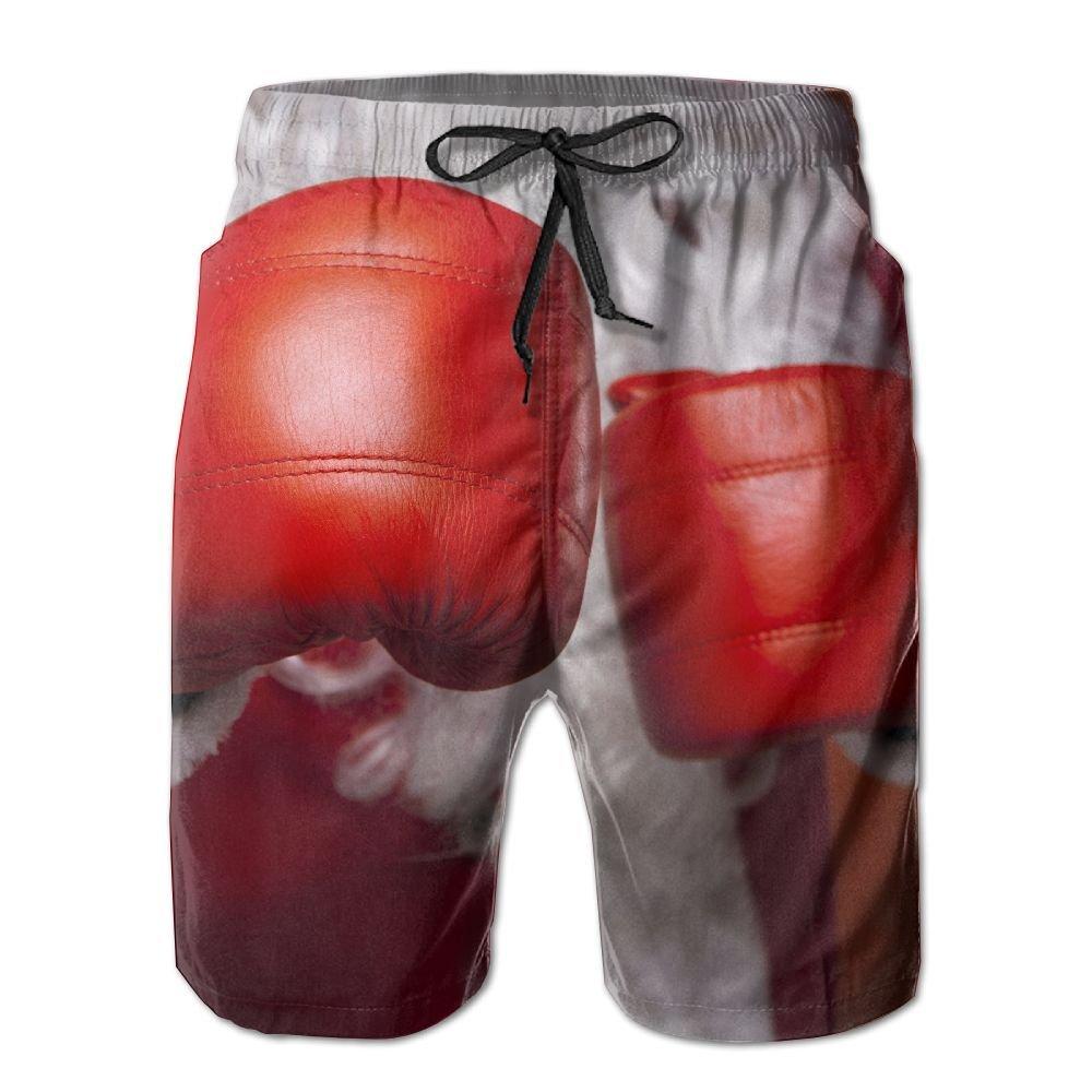 HFSST Christmas New Year Santa Boxing Red Summer Swimming Trunks Beachwear Shorts