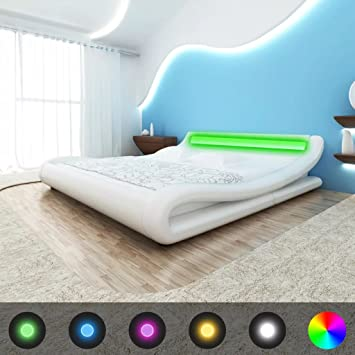 e753dd8017 Amazon.de: vidaXL Bett mit Matratze Kunstleder 180x200 cm Curl Weiß