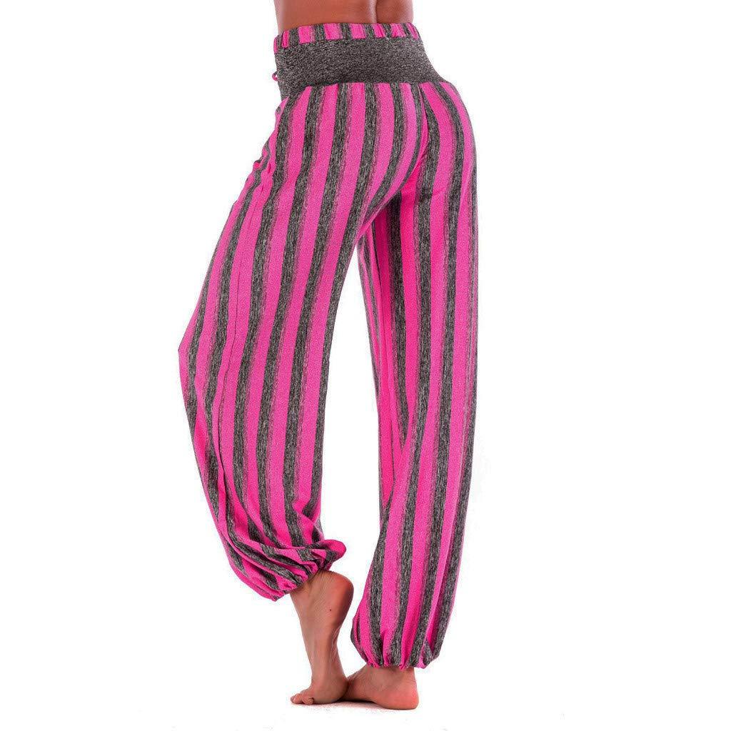 ZEFOTIMWomen Fashion Striped Print Yoga Pant Casual High Waist Leggings Bloom Trousers