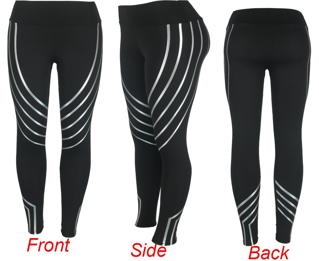1f853410a8686 Amazon.com: Women Sports Leggings Stripe Reflective Pants Todaies Yoga  Workout Mid Waist Running Pants Printing Athletic Leggings: Sports &  Outdoors