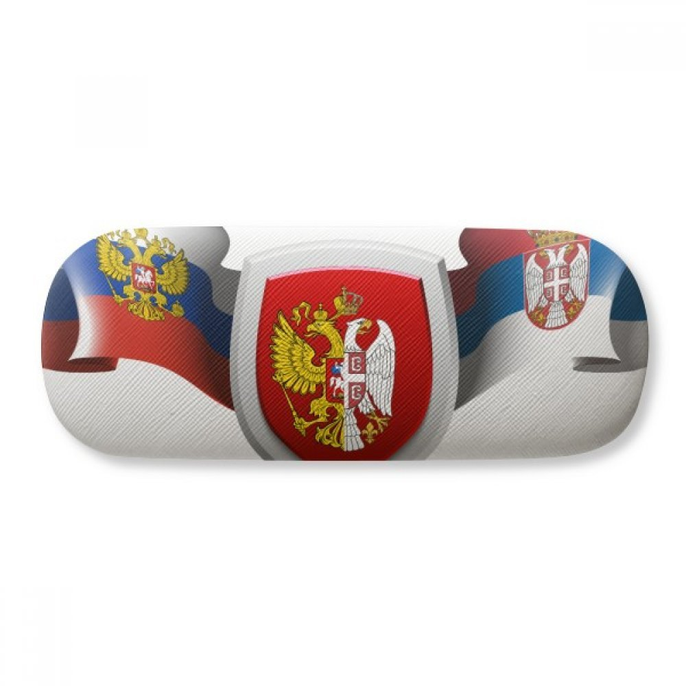 Serbia National Emblem Country Glasses Case Eyeglasses Clam Shell Holder Storage Box