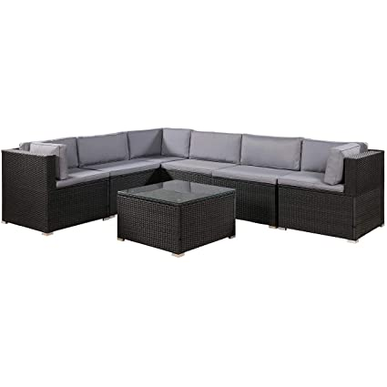 Stupendous Leisure Zone 7 Piece Patio Furniture Set Outdoor Sectional Conversation Set With Soft Cushions Black Home Interior And Landscaping Oversignezvosmurscom