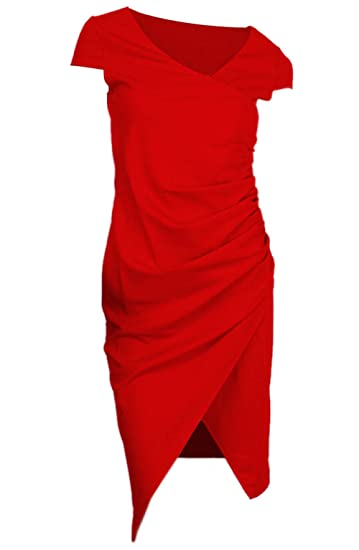 Beauty7 Damen Tief V Etuikleid Asymmetrisch Plissee Kleid mit ...