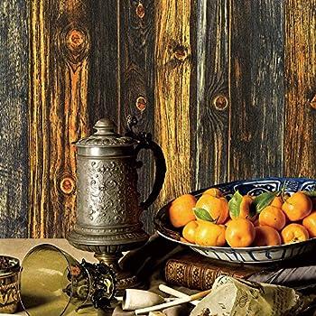 YT701 Vintage Wood Wallpaper RollsBrown Yellow Black Rustic Wooden Murals Bedroom