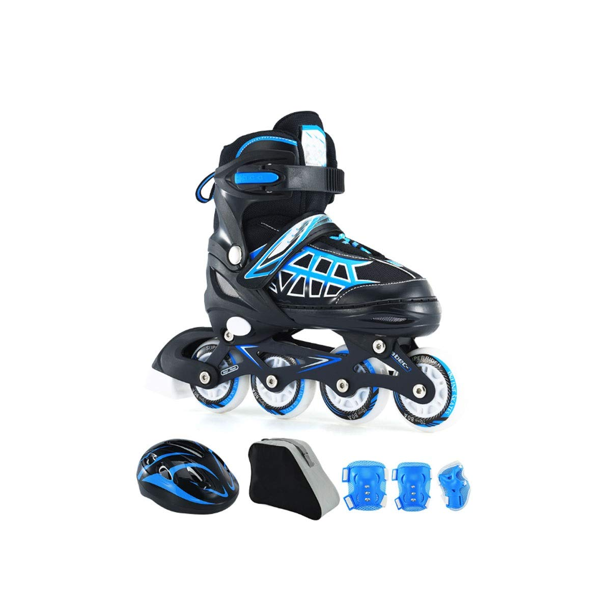 Hengxiang Fitness Inline Skates, Children's Skates, Adjustable Four-wheel Size, Thicken Aluminum Alloy Bracket, Sand Permeable Hole, And High-elastic PU Flash Wheel, Full Protective Gear, Red, Blue Wo