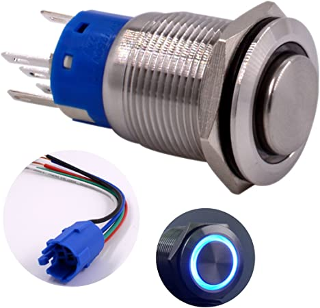 12MM STAINLESS STEEL PUSH BUTTON 12V FLAT FRONT MOMENTARY SWITCH SILVER METAL