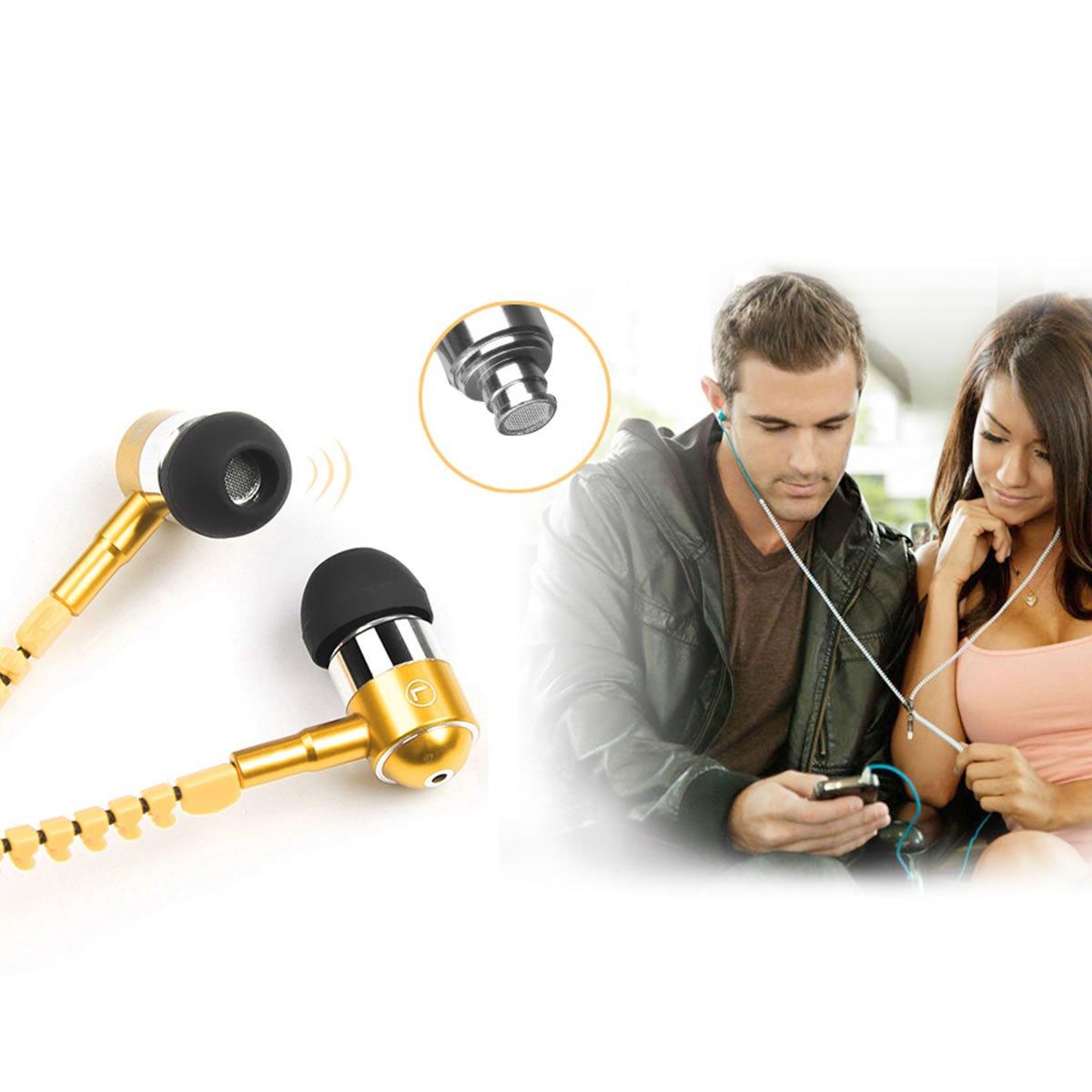 LONGQI Zipper Écouteurs Intra-Auriculaires avec Micro Téléphone Portable Casques