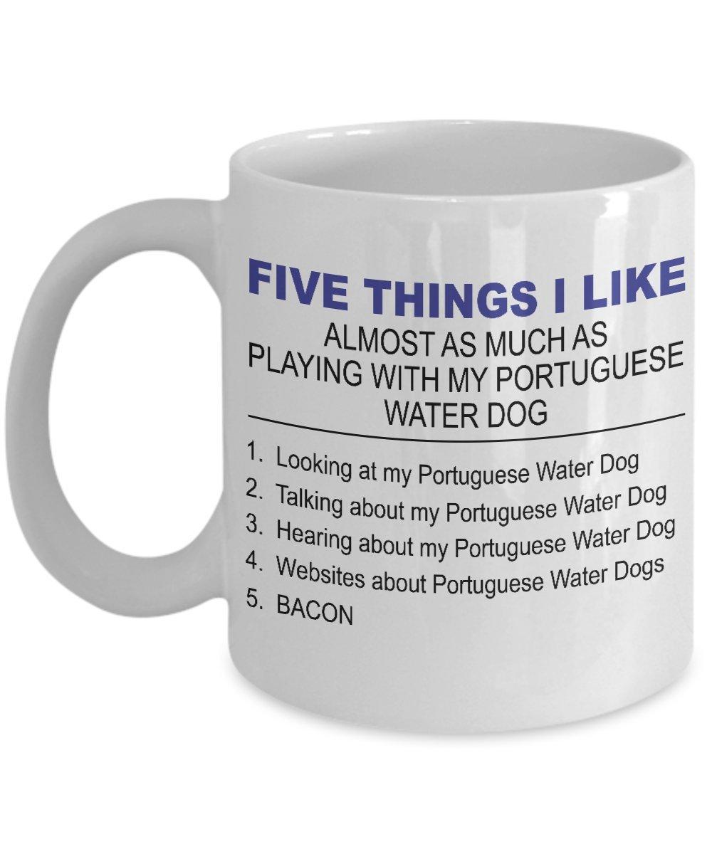 Portuguese Water Dog Mug -Five Thing I Like About My Portuguese Water Dog -11 Oz Ceramic Coffee Mug 1