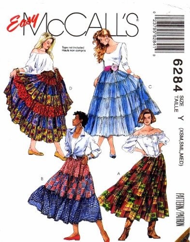 McCall's 6284 Sewing Pattern Misses Tiered Skirts Size 4 - 14 Waist 29 1/2 - 36