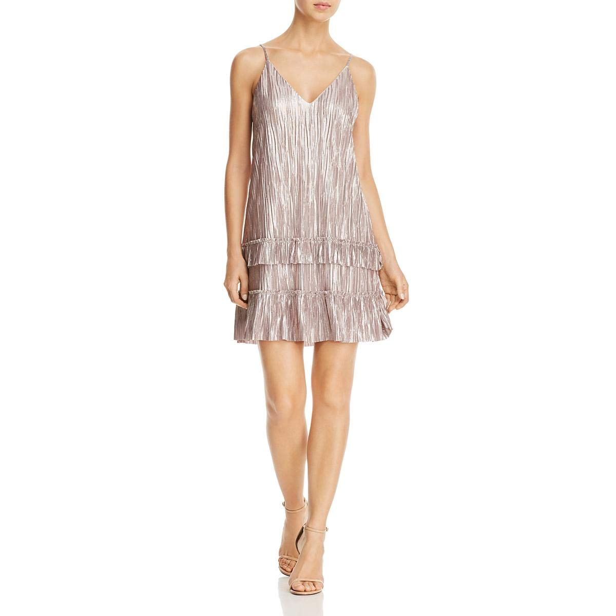 Champagne Lost + Wander Womens Metallic Ruffled Slip Dress