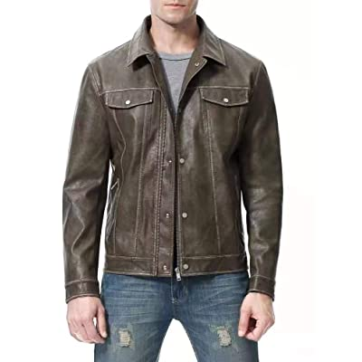A7X JINGBI Mens Leather Motorcycle Jacket PU Biker Cowhide Waterproof Bomber Coats Lightweight Winter with Button Stitching Brown at Amazon Men's Clothing store