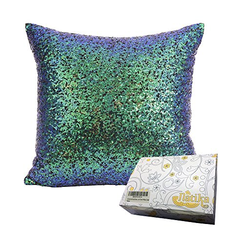 (18 Inch (45 cm) Europe Luxurious Sequin Pillow Cushion Cover Pillow Case (Jewel Beetles))