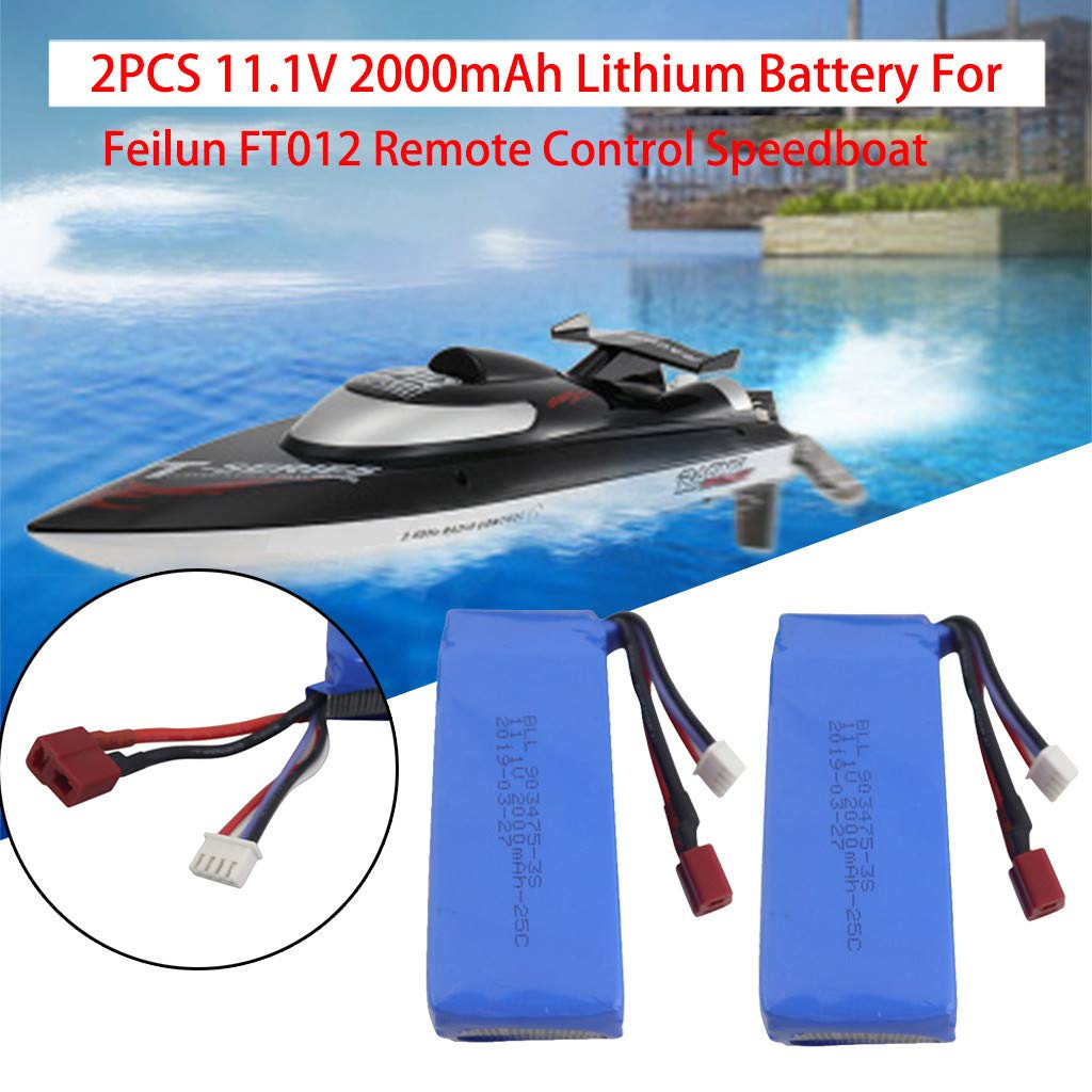 2Pcs 11.1V 2000mAh Lithium Battery For Feilun FT012 Remote Control Speedboat by MODAO
