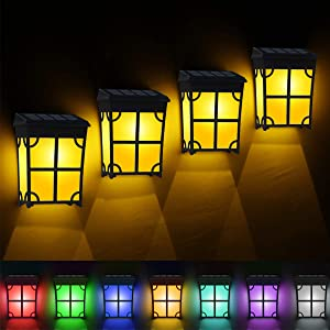 TonyEst 8 Pack Solar Deck Lights Outdoor Classic Style Amber Warm LED Solar Fence Lights Waterproof Garden Decorative Lighting Solar Powered with 2 Optional Modes for Backyard Patio Fences Decor