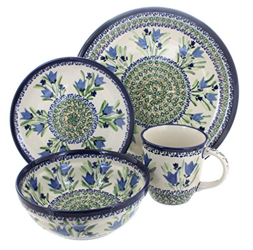 Polish Pottery Blue Tulip 4 Piece Dinner Set