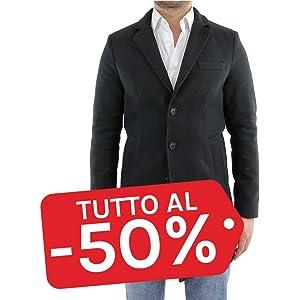 Ciabalù Cappotto Uomo Invernale Lana Elegante Sartoriale Giaccone Nero Slim  Fit Cappottino Giubbotto Soprabito 57728be9602