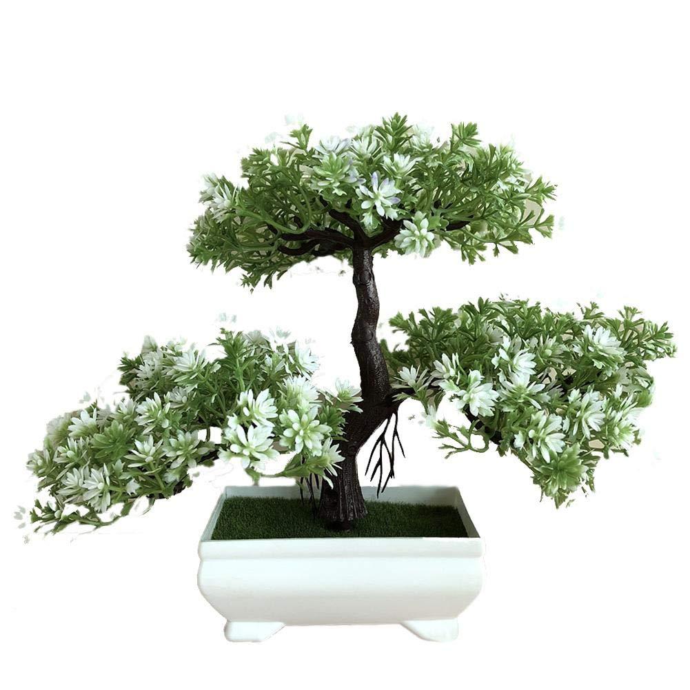 albero di loto//pino//ganoderma D in vaso di plastica decorazione per la casa Bonsai artificiale per interni e da tavolo