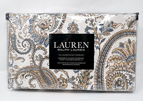 Comforter Lauren Ralph Queen (Ralph Lauren Paloma Paisley Taupe Blue 3pc Full Queen Duvet Cover Set Floral Paisley Ivory Beige Tan Blue)