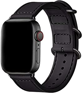 BesBand Compatible with Apple Watch Bands 44mm 42mm 40mm 38mm for Women Men,Soft Silicone Sport Strap Replacement Band for Apple Watch SE & iWatch Series 6/5/4/3/2/1 (Black/Black, 42mm 44mm)