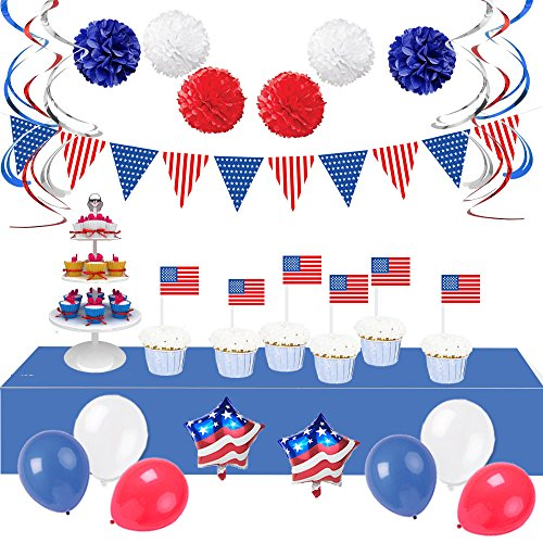 LifeMadeSimple Patriotic American Flag Decorations Set with 34 Red White and Blue Decorations for an Impressive Indoor or Outdoor 4th of July Party Decor