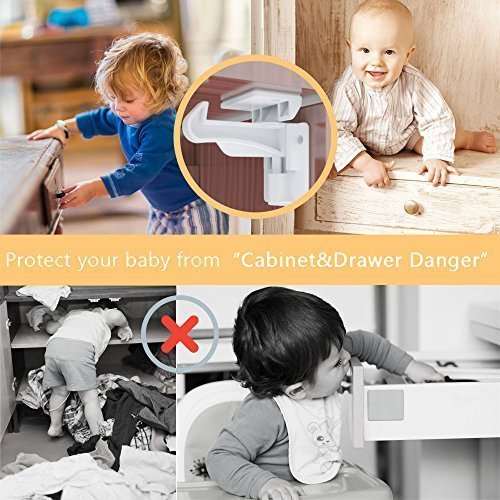 with 8pcs Desk Corner Protectors Cunina 10 Pack Childproofing Cupboard Latches with Tool Free Installation for Drawers Cabinets and Closets Cupboard Locks for Kids Pets