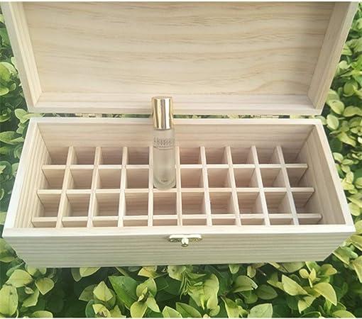 Caja de aceite esencial 40 Ranura de madera Aceites Esenciales Caja de almacenamiento cuenta con el 40 Aceites 10ml botella Aceites contenedores de recogida (Color : Natural , Size : 27X11.5X10.3CM) : Amazon.es: Hogar