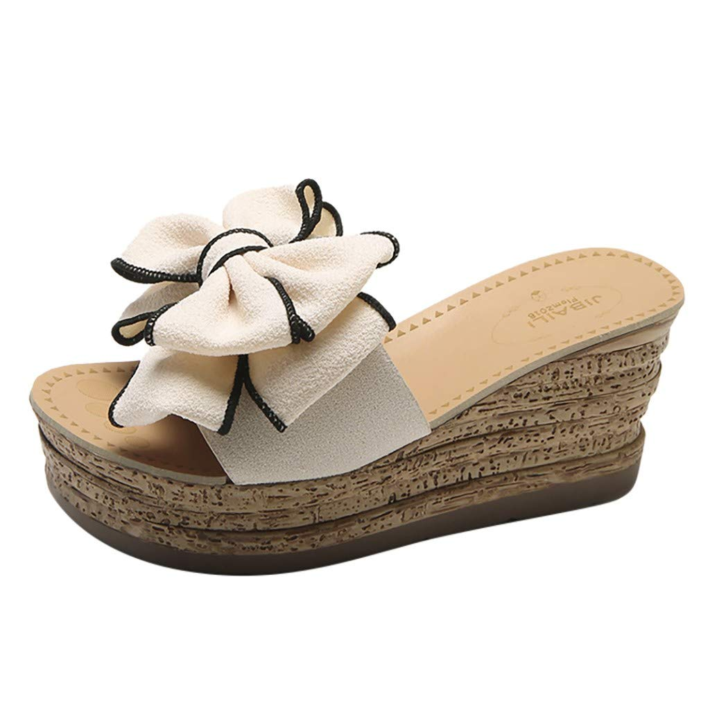 Tantisy ♣↭♣ Women's Comfy Flowers High Heels Wedge Platform Summer Slippers Sandals Thick Bottom Outdoor Slippers/8cm Beige