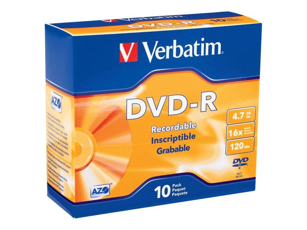 Verbatim DVD-R 4.7GB 16x Recordable Media Disc - 10 Disc Slim Case 615dsDvpQjL