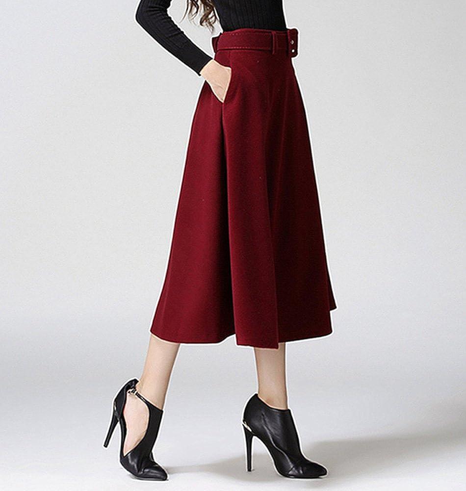/él/égant en Jupe Midi Long Jupes Mode Jupes BiilyLi Femmes Hiver Jupe pliss/ée Haute Taille Maxi Jupe