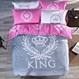 TheFit Paisley Bedding Textile for Adult U430 Pink Grey King Crown Duvet Cover Set 100% Cotton, Twin Queen King Set, 3-4 Pieces (King)