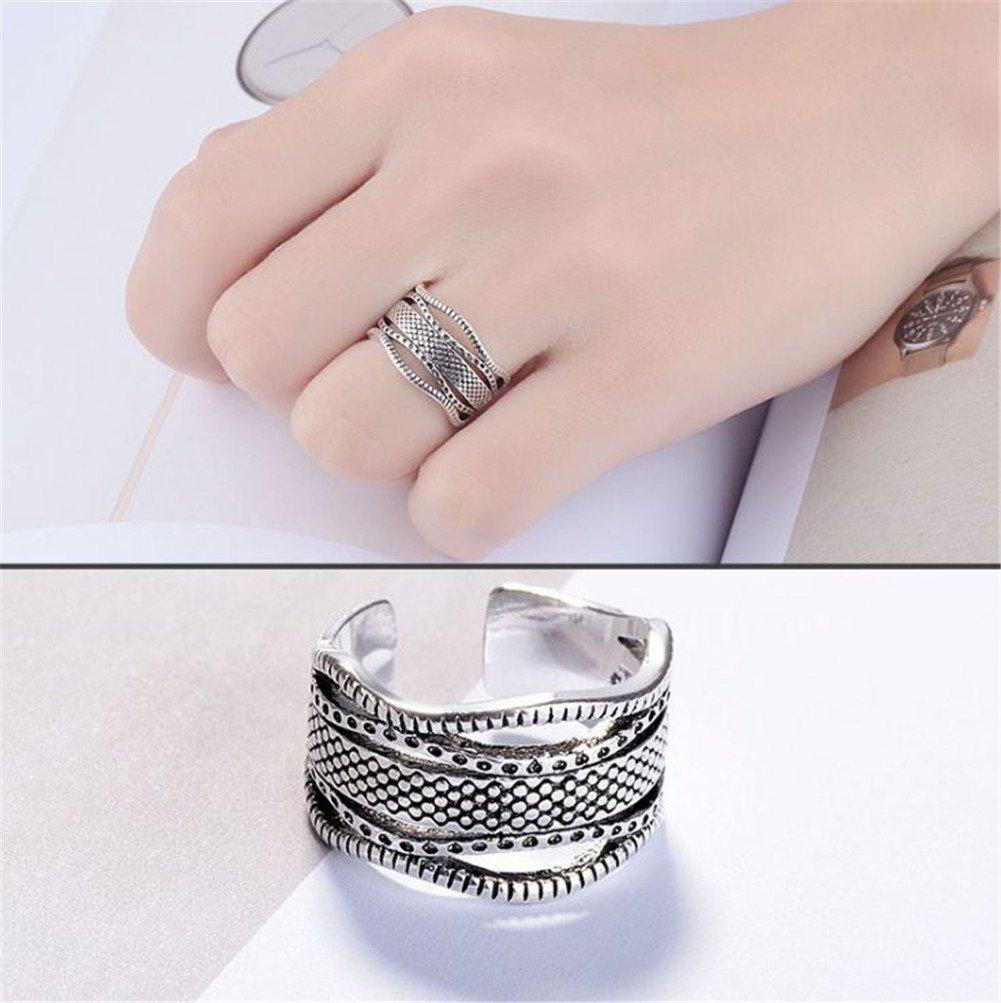 CAOLATOR 925 Sterling Silver Turquoise Gemstone Leaf Adjustable Ring for Women