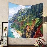 Gzhihine Custom tapestry Hawaiian Decorations Tapestry Na Pali Coast Kauai Hawaii Seashore Greenery Adventurous Journey Landscape Scenery Bedroom Living Room Dorm Decor