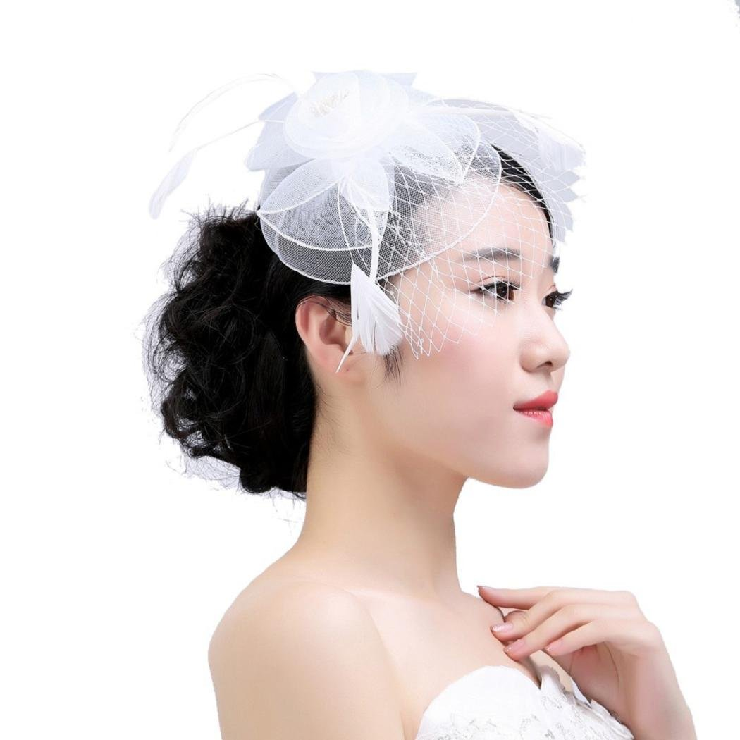 Fascinators Hats ShenPr Feather Mesh Flower Fascinator Hat with Hair Clip Party for Girls and Ladies (White_369)