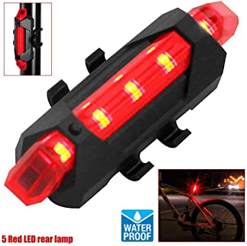 OcioDual Linterna 5 LED Rojos Parte Trasera de Bicicleta con ...