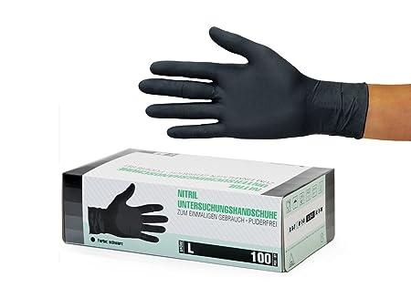 Nitrilhandschuhe 100 Stück Box (L, Schwarz) Einweghandschuhe, Einmalhandschuhe, Untersuchungshandschuhe, Nitril Handschuhe, p